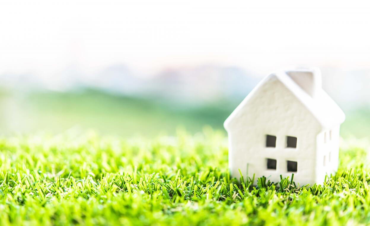 芝生の上に置かれた家の模型